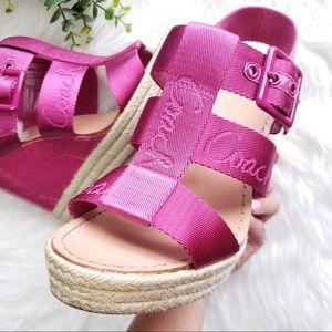 Coach Shoes - Coach Maryanne Pink Wedge Espadrille Sandals